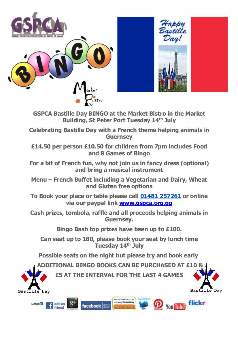Tuesday 14th July Bastille Day French themed bingo at the Market Bistro