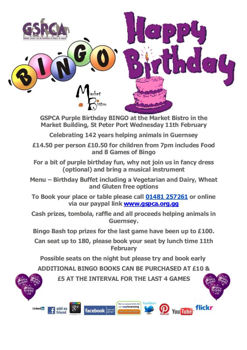 GSPCA Purple birthday Alice in WOnderland themed bingo at the Market Bistro in Guernsey with the GSPCA