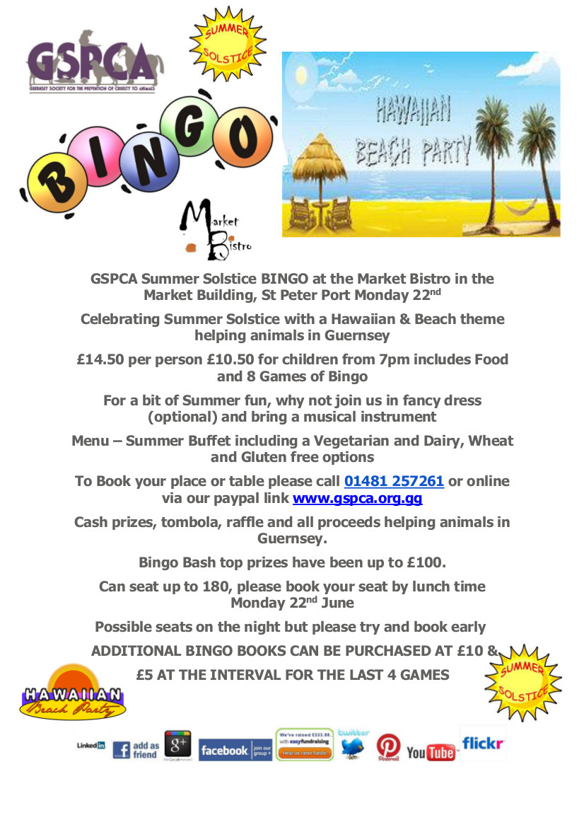 Monday 22nd June Summer Solstice Hawaiian themed bingo at the Market Bistro, click here for details