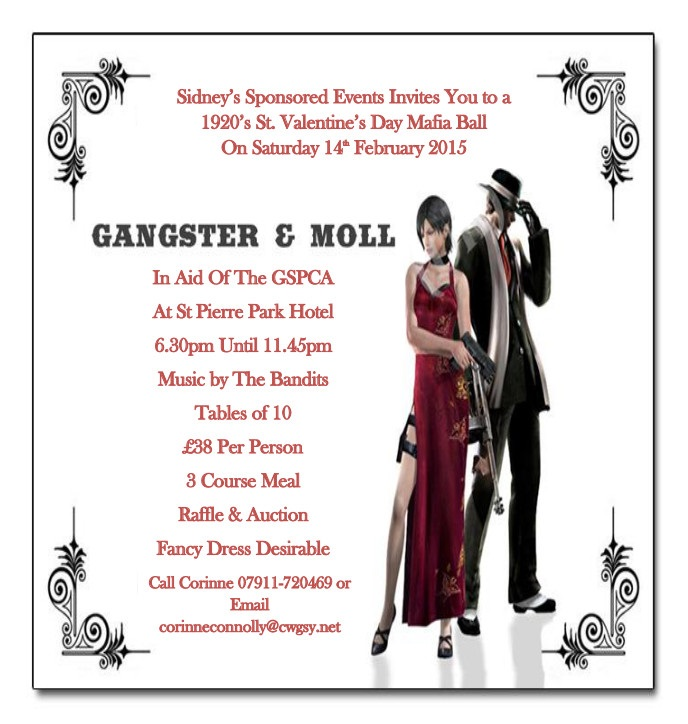 To book for Sidney's Sponsored Events 1920's St. Valentine's Day Mafia Ball on Saturday 14th February 2015 please click here